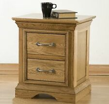 Toulon solid oak furniture two drawer bedside cabinet stand unit