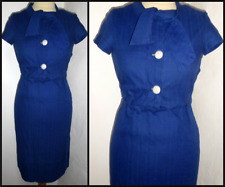VINTAGE 40S 50S FITTED BOW NECK WIGGLE PENCIL DAY DRESS UK 8 ROCKABILLY WWII