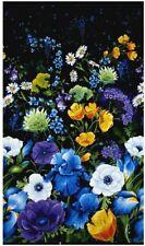 Timeless Treasures Reverie 24in Flower Panel Black Fabric