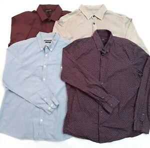 Mens Casual Shirts Size XL Bundle Blue Purple Beige M&S Next Spitalfields R.I.