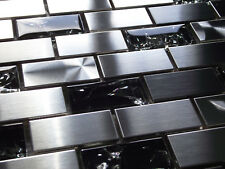 BLACK CRACKLE GLASS BRUSHED STEEL METAL SILVER BRICK RECTANGLE MOSAIC TILES 8MM