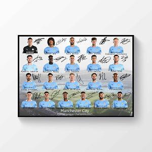Manchester City FC Premier League Champions 2020-2021 Signed A4 Team Poster