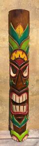 Tiki Mask Wall Hanging Hand Painted 100cm Man Cave Tiki Bar Garden Bar