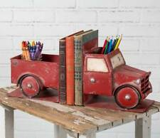 Decorative Rustic Weathered Little Red Pickup Truck Bookends with Storage