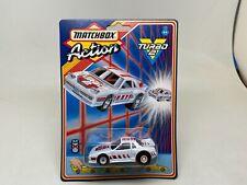 RARE-MATCHBOX-ACTION TURBO 2-PONTIAC FIERO-PULLBACK-SEALED ON CARD-1987-WHITE