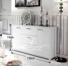 White 2 Door 3 Drawer Buffet Cabinet combines generous storage space