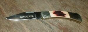 WINCHESTER Folding Pocket Knife with faux Stag Bone Handles & Etched Blade SEE