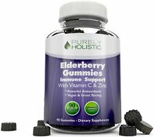 Elderberry Gummies Sambucus 90 Vegan with Added Vitamin C & Zinc Immune Support