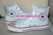 Custom Crystal Diamante Bling White Party Wedding Converse Size UK 3 4 5 6 7 8 9