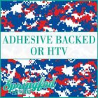 DIGITAL CAMO in Royal Blue, Red & White Pattern Adhesive Vinyl or HTV Transfer