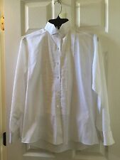 Mina Women's Long Sleeved Pleated Button Down White Shirt Top Blouse Size 6