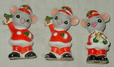 3 VINTAGE NAPCO, NAPCOWARE CERAMIC CHRISTMAS SANTA MOUSE FIGURINES, VERY CUTE