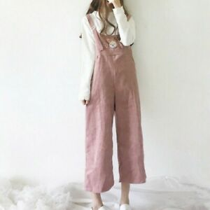 Lady Corduroy Pants Trousers Jumpsuit Dungaree Loose Wide Leg Embroidery Fashion