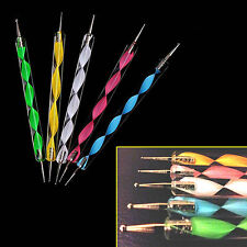 5Pcs 2 way Dotting Pen Marbleizing Tool Nail Art Paint Shop Quality Accessory UK