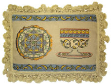 """12""""x16"""" Handmade Wool Needlepoint Petit Point French Antique Tea Cup Set Pillow"""