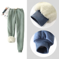 Women Winter Sweatpants Fleece Sport Pants Casual Lined Harem_Trouser Drawstr PL