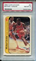 1986 Fleer Basketball Sticker #8 Michael Jordan Rookie Card Graded PSA NM Mint 8