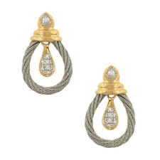 Charriol Celtic Classique 18K Gold & Cable Diamond Stud Earrings!
