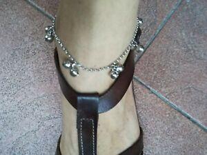 Cavigliera donna acciaio con campanelli bagnata argento- Sexy- Danza del Ventre