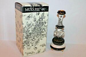 Mud Pie Black & White Toile Classic Candlestick NEW