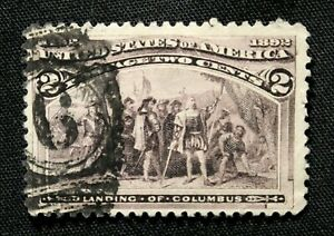 US Stamp Scott #231 ~ LANDING OF COLUMBUS (Broken Hat) 2c 1893 GR02
