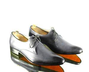 Handmade Men Gray Color Leather Wholecut Lace Up Dress Shoes, Men Designer Shoes