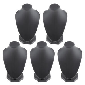 Lots 5 Black PU Leather Necklace Bust Display Shop Pendant Jewelry Stands