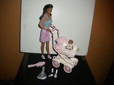 1999 AA Mattel Walking Barbie & baby sister Krissy doll stroller playset