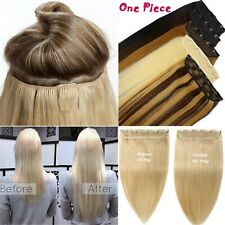 120g 5Clips On One Piece Clip In Virgin 100%Remy Human Hair Extensions Full Head