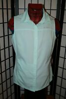 COLUMBIA OMNI-SHADE POLYESTER SLEEVELESS BUTTON FRONT SHIRT WOMENS M