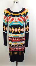 Jessica Simpson S Knit Sweater Dress Southwestern Blanket Print Knee Length