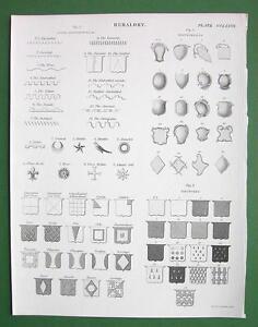 HERALDRY Types of Lines Tinctures Escutcheons - 1842 Antique Print