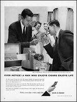 1958 Men smoking cigars Cigar Institute America social retro photo print ad L81
