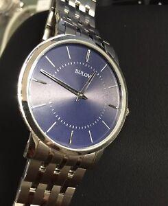 Mens Genuine Bulova Ultra Slim Designer Dress Watch 96A188 Navy Blue Steel