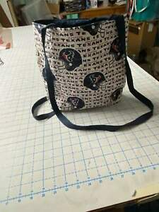 Houston Texans w/Navy Lining— Machine-Quilted Tote Bag