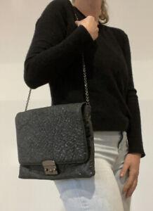 Scanlan Theodore Black Metallic Textured Leather Clasp Chain Flap Bag