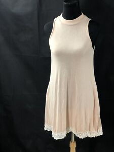 Miami Women Soft Pink Casual Dress Lace Trim Med