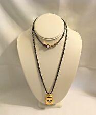 "Liz Claiborne  Silver Gold Tone Necklace Pendant Heart Locket Bookchain 32 """