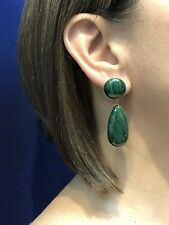 Genuine Malachite 14kt Solid Gold Dangle/Drop Earrings, New