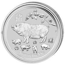 1$ Silber / Silver Australien Lunar II Schwein / Year of the Pig 2019 1 OZ