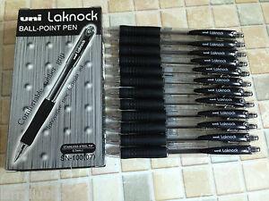 12 pcs Uni Laknock SN-100 0.7mm fine ball pen - BLACK