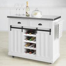 SoBuy Design Küchenwagen mit Flaschenablage Küchenschrank Kücheninsel FKW94-W