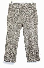 Details - 8 (M) - Designer Leopard Animal Print 97% Cotton Capri Crop Pants