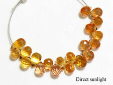 Small Natural Orange Sapphire Faceted Teardrop Briolette Gemstone Beads (05085)