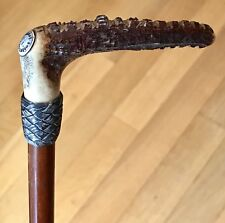 Vintage Antique Swaine&Co London Horse Whip Riding Crop Stag Silver Mount Old
