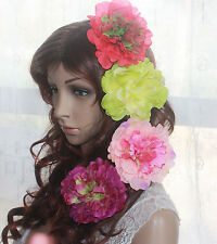 "4PC Mix Color Fabric Big flower clip size 11cm/4.5""Wedding Bridal Pins 87C"