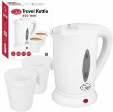 0.5L 600W TRAVEL KETTLE WHITE DUAL VOLTAGE PORTABLE LIGHTWEIGHT KETTLE + 2 CUPS