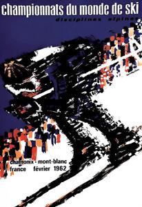 Travel  Championnat de Ski février 1962 Chamonix Holiday Art Ad  Poster Print