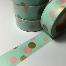 WASHI TAPE PINK/GOLD SPOTS ON MINT 15MM WIDE X 5MTR ROLL SCRAP PLAN CRAFT
