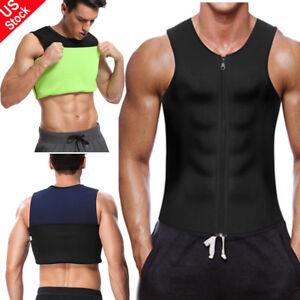 Men's Neoprene Waist Trainer Vest Sauna Sweat Body Shaper Slimming Gym Workout